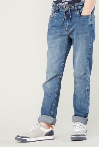 Textured Jeans with Pocket Detail and Elasticised Waistband