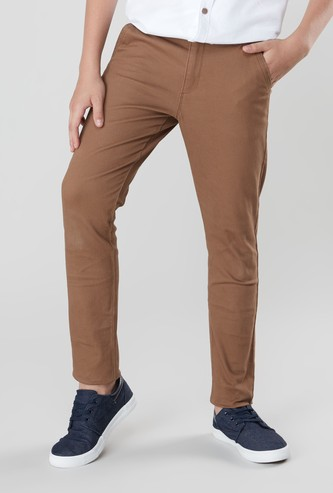 Solid Woven Trousers with Belt
