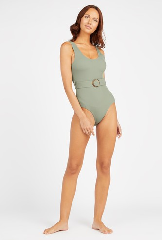 Textured Sleeveless Swimwear with Belt