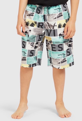 All-Over Print Swim Shorts with Drawstring Closure