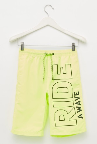 Text Print Swim Shorts with Drawstring and Pocket Detail