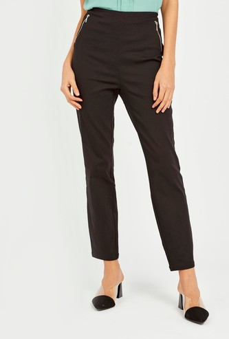 Solid Mid-Rise Pants with Elasticised Waistband
