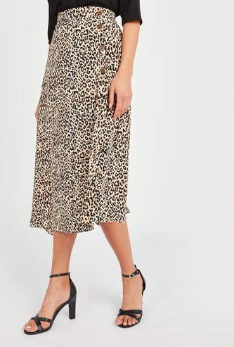 Animal Print Midi A-line Skirt with Button Detail