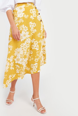 Floral Print Asymmetric Midi Skirt with Button Detail