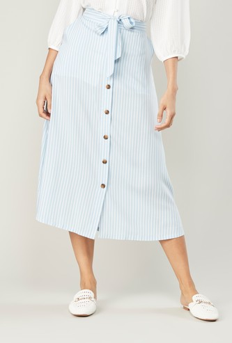 Striped A-line Midi Skirt with Tie Ups