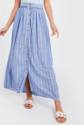 Striped Maxi A-line Skirt with Elasticised Waistband and Button Detail