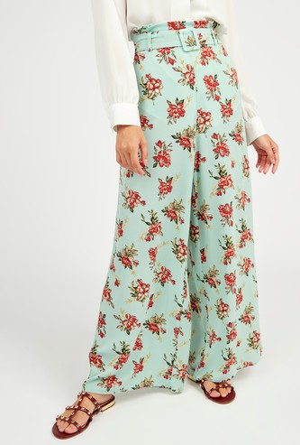 Printed Mid-Rise Palazzo Pants with Paperbag Waist and Belt
