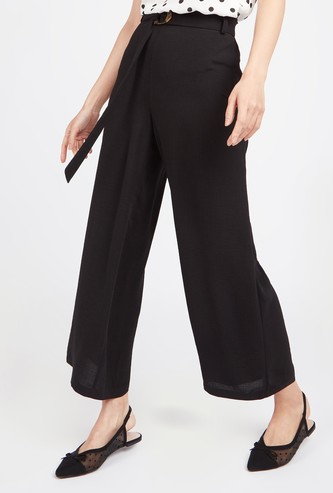 Textured Mid-Rise Palazzo Pants with Belt
