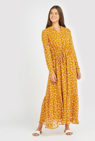 فستان إيه لاين طويل بأكمام طويلة