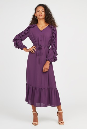Textured Maxi A-line Dress with Bishop Sleeves and Tie Ups