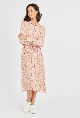 Printed  Midi Shirt Dress with Long Sleeves and Tie Ups