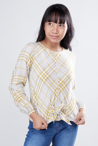 Chequered Top with Long Sleeves and Knot Detail