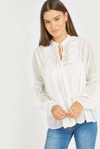 Textured Ruffle Detail Peasant Top with Lace Trims and Tie Ups