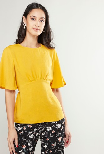 Solid Round Neck Top with Smock Waist and Short Sleeves