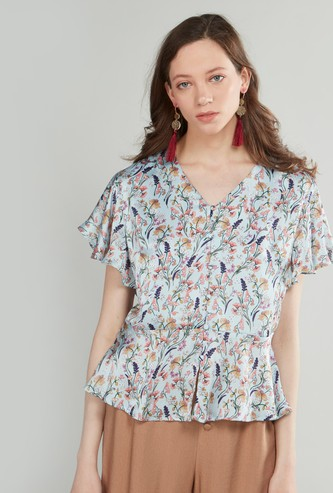 Floral Printed V-neck Button-Down Top with Butterfly Sleeves