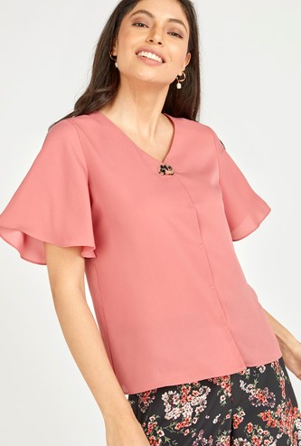 Solid Top with V-neck and Short Sleeves