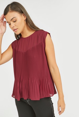 Pleat Detail Sleeveless Cut and Sew Top with Round Neck