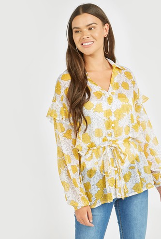 Floral Print Top with Ruffle Detail and Long Sleeves