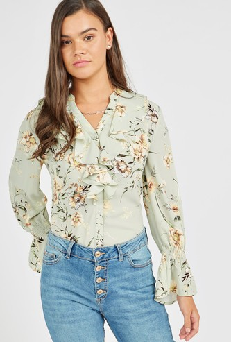All Over Printed Top with V-neck and Flounce Sleeves