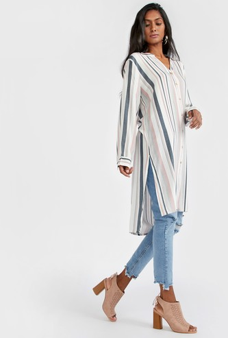 Striped Tunic Shirt with Long Sleeves and Side Slit