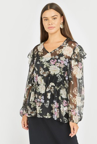 Floral Print Ruffled Peplum Top with V-neck and Long Sleeves