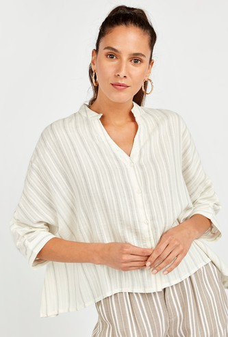 Striped Button Down Boxy Shirt with Long Sleeves