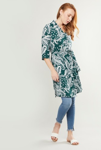 Printed V-Neck Tunic with Belt and 3/4 Sleeves