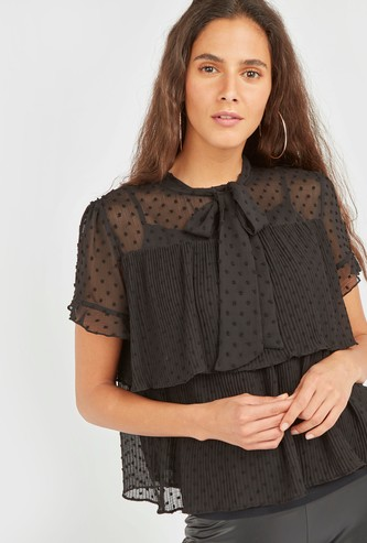 Swiss Dot Embroidered Tiered Top with Neck Tie and Frills