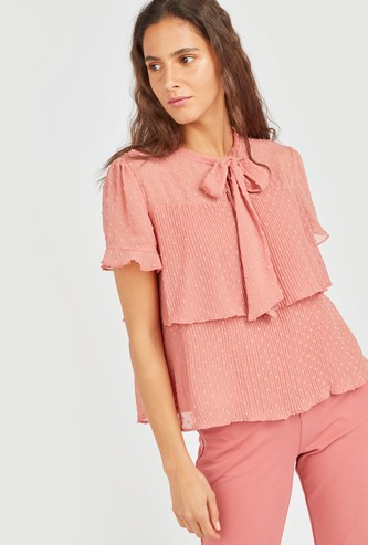 Swiss Dot Embroidered Tiered Top with Neck Tie and Ruffle Detail