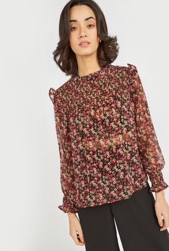 Floral Print Ruffled Top with High Neck and Bishop Sleeves