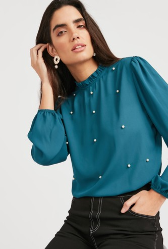 Pearl Detail Solid Ruffled Top with High Neck and Long Sleeves