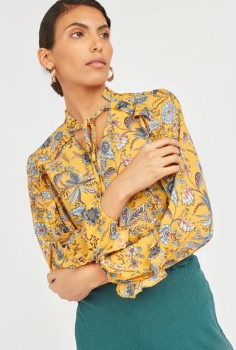 Printed V-Neck Blouse with Long Bishop Sleeves and Tie-Up Detail