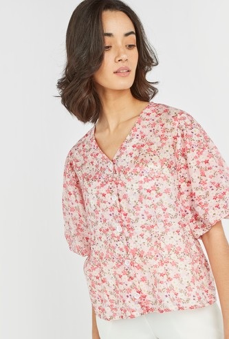 Floral Print V-Neck Top with Short Flounce Sleeves