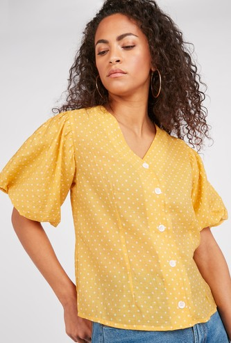 Polka Dot Print V-Neck Top with Short Flounce Sleeves