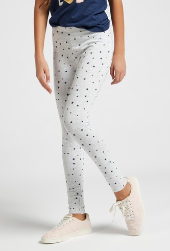 Ankle Length All-Over Star Print Leggings with Elasticised Waistband