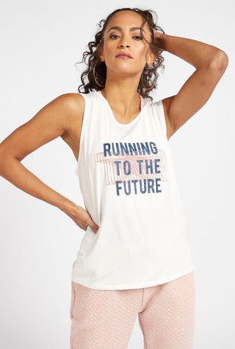 Slogan Print Sleeveless Vest with Round Neck