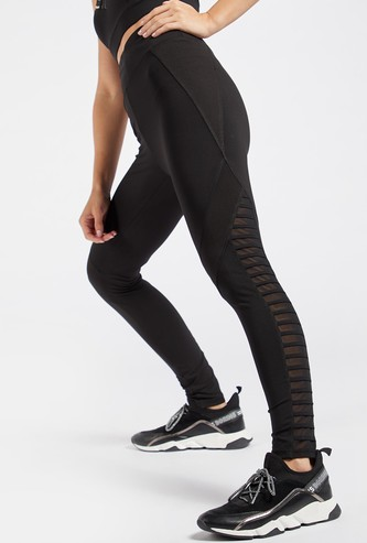 Textured Leggings with Mesh Detail and Elasticised Waistband
