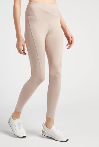 Slim Fit Solid High-Rise Leggings with Wide Elasticised Waistband