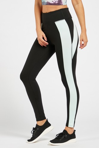 Colourblock Leggings with Stripe Detail and Elasticised Waistband