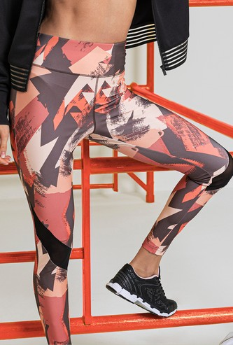 All-Over Print Leggings with Mesh Detail and Elasticised Waistband