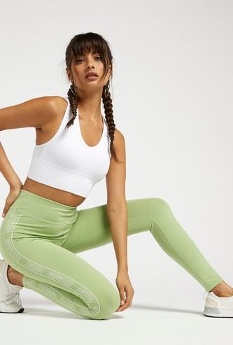 Slim Fit Leggings with Printed Side Tape and Elasticised Waistband