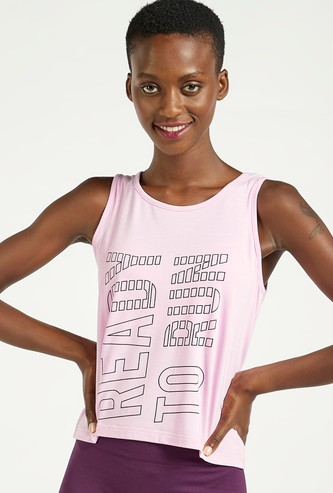 Text Print Sleeveless Vest with Round Neck