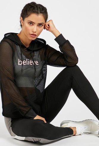 Text Print Mesh Hoodie with Long Sleeves