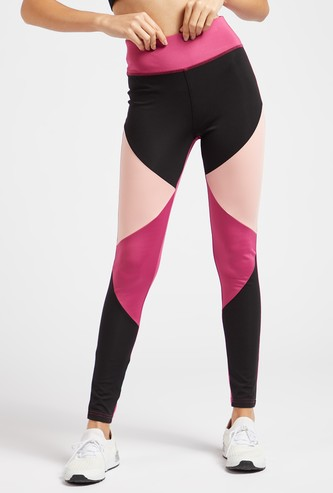Colour Block Leggings with Elasticised Waistband