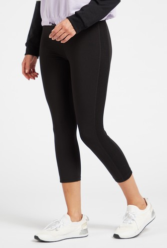 Solid High-Rise 3/4 Leggings with Mesh Panel