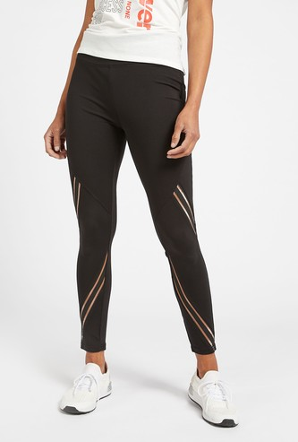 Slim Fit Solid Leggings with Mesh Panels and Elasticised Waistband