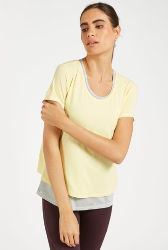 Solid Double Layered T-shirt with Round Neck and Short Sleeves