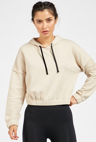 Solid Sweatshirt with Long Sleeves and Hood