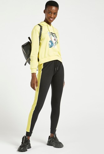 Full Length Mid-Rise Joggers with Contrast Panels and Binding