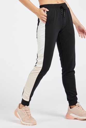 Solid Colour Block Jog Pants with Drawstring